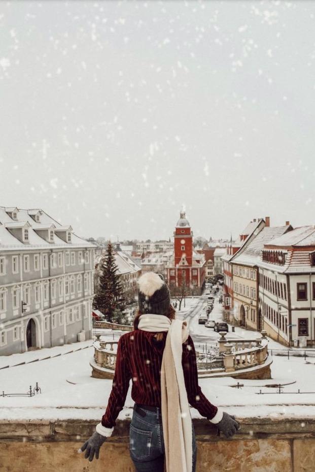 Fotospots im Schnee: Der schneebedeckte Schlossberg in Gotha