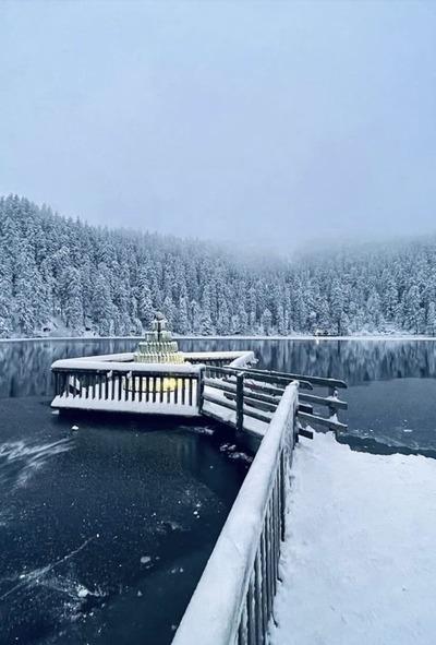 Fotospots im Schnee: Der verschneite Bootsanlegesteg am Mummelsee im Schwarzwald im Winter